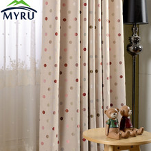 MYRU new high precision linen jacquard shade cloth curtain blackout curtains colorful dots curtains for bedroom and living room
