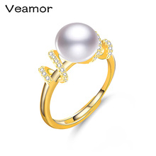 VEAMOR Brand Fashion Rings For Women With Top Quality Freshwater Pearls 18K Yellow Gold Color Ring For Women Environmental Metal(China)