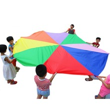 Handles Children Kids Teamwork Cooperative Play Rainbow Parachute 2 m Outdoor Waterproof Game Exercise Sport Tool Toy(China)