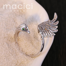 Nice Animal Swan Shaped Finger Rings Female Wedding Fashion Jewelry 2017 New Collection (JZ0429-SBL-1)(China)