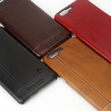 Pierre Cardin Genuine Leather Luxury Ultrathin Cell Phones Case For One Plus 5 Case Oneplus 5 Case Hard Back Cover Free Shipping(China)