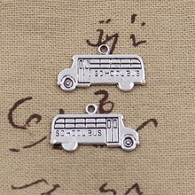 99Cents 10pcs Charms school bus 13*23mm Antique Tibetan Silver Pendant Findings Accessories DIY Vintage Choker Necklace(China)