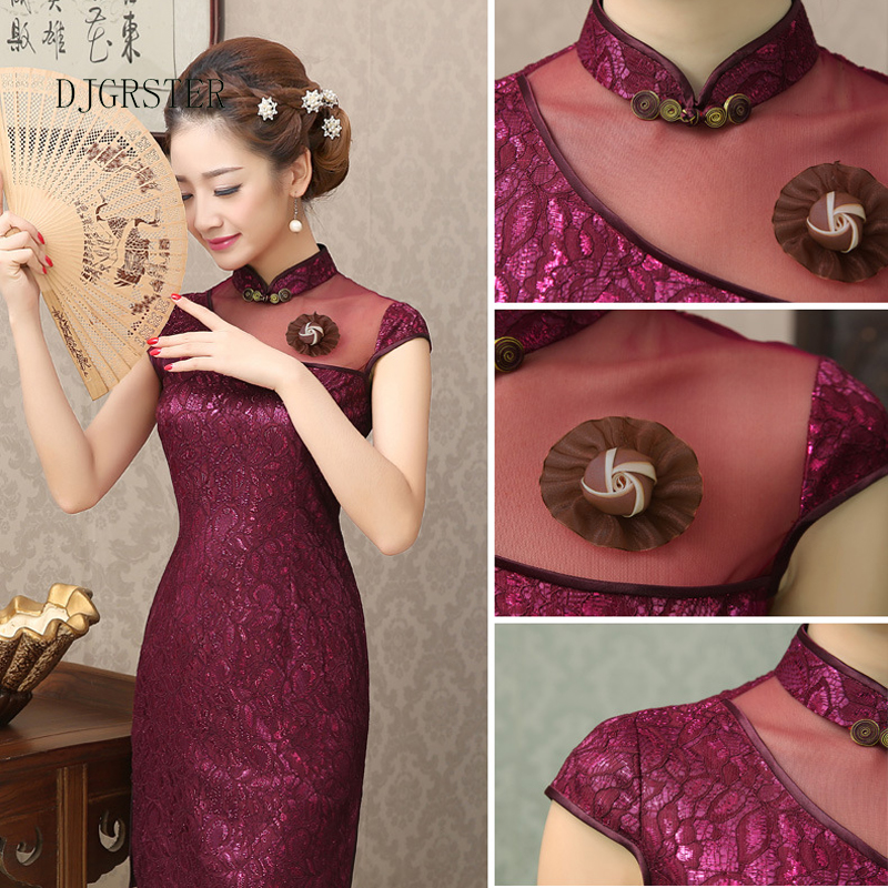 DJGRSTER New Europe Station Lace Dress Women Modern Cheongsam Qipao Sexy Chinese Dresses Traditional Clothing Oriental Dress (1)