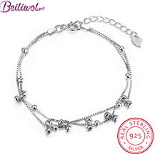 Hot 925 Sterling Silver Bracelets for Women Bow Fashion Women's Box Chain Bead Love Ladies Gift Real Sterling-silver-jewelry