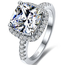 Luxury Classic Design 3 Carat Brilliant Cushion Cut Halo Style NSCD Lovely Diamond Engagement Ring Solid White Gold Plated(China)