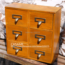 Zakka finishing retro vintage 6 desktop storage cabinet storage cabinet bronze handle drawer cabinet(China)