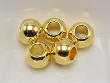 100 Gold Tone Metallic Acrylic Round Pony Beads 10X8mm Big Hole Spacer(China)