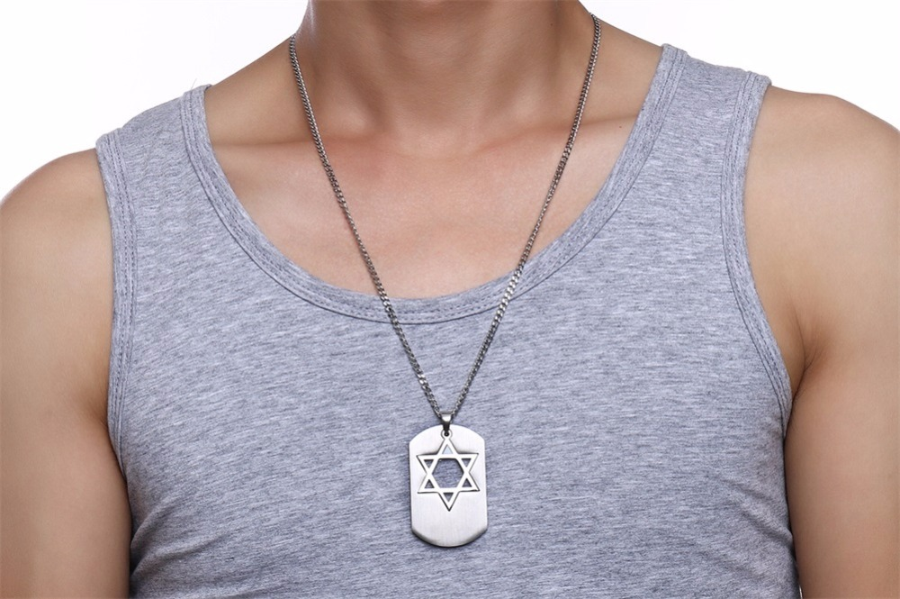 Israel Symbol Star of David Dog Tag Pendant Necklace for Men Jewelry silver 18
