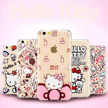 Hello Kitty Bow Cat Case For iPhone 6 6s Plus Printed Soft Back Cover Caso Cell Phone Cases Coque For iPhone 6s Plus 5 5S SE