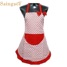 Saingace TOP Grand 2016 HOT SALES Hot Selling Cute BowKnot Women Kitchen Restaurant Bib Cooking Aprons With Pocket Free Shipping