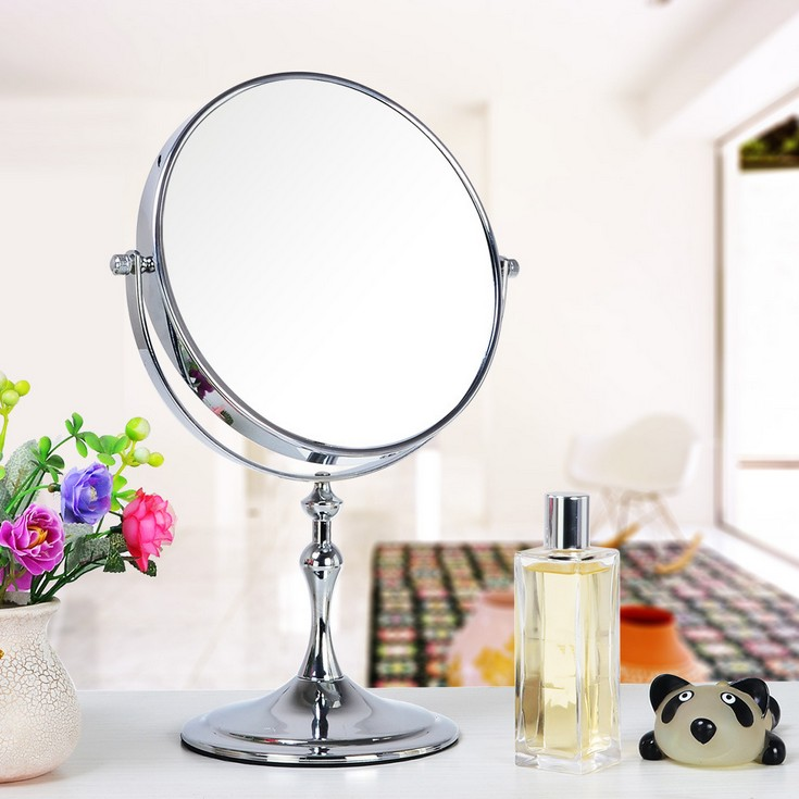 Hot Sale Lady Table 8 Inch Mirror Desk Standing Dresser Cosmetic Makeup Mirror Double Sided 3x Magnification<br>