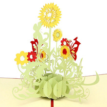 3D Sunflower Design Greeting Card Pop Up Sunflower Birthday Greeting Card Mother's Day Thank You Greeting Postcard Card KT0124(China)