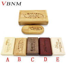 VBNM (over 10 PCS free LOGO) Wooden usb + Box pen drive 8GB 16gb 32gb usb Flash Drive Memory Stick LOGO customer wedding Gift(China)