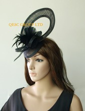 Black Sinamay Fascinator hat w/feather flower for Melbourne cup,ascot races,wedding,kentucky derby wedding races church,