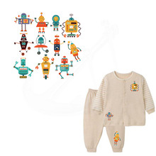 11pattern/combo Iron on patch lovely Cartoon robot stickers child T-shirt Sweater thermal transfer paper Patch for clothing(China)