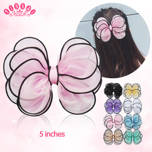 TINSAI 5 inch Hair Clip Chiffon Butterfly 8 Color Hair Bows Big Hair Pins girl hair Accessories Hot Chiffon Flower Headband(China)