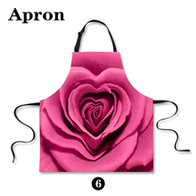 New 3D Printing Apron Pink Roses Printing Cotton Sleeveless Antifouling Halter Neck Apron Restaur Kitchen - P033