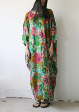 Vintage Large Waist Half Batwing Sleeve Design Floral Print Cotton Dress, Summer Modest Cool Plus Size Green Red Flowers Dresses(China)