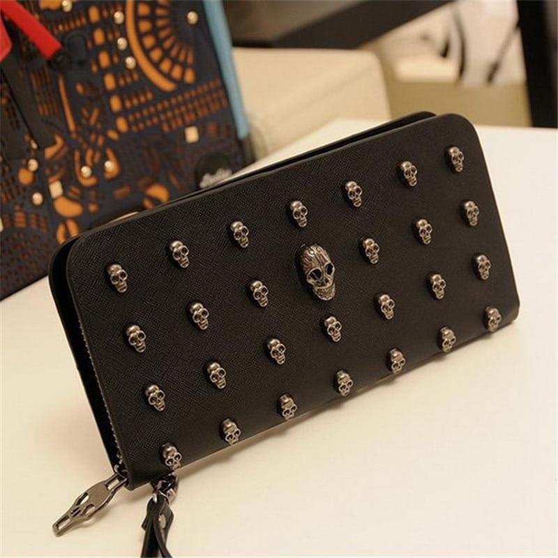 2016 New Fashion Women Wallets Metal Skull Wallet Card Purse Leather Wristlet Portefeuille Handbags Carteira Feminina<br><br>Aliexpress