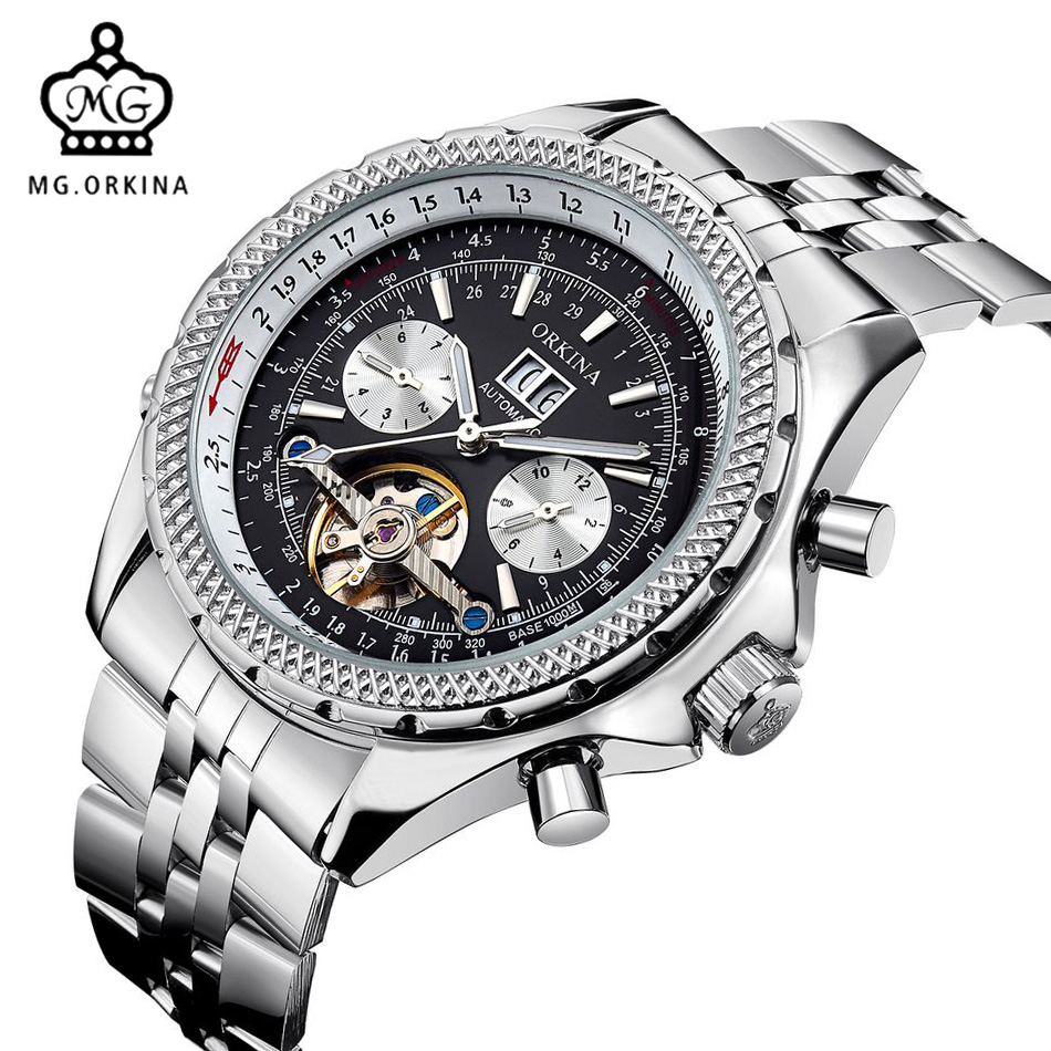 MG ORKINA Top Brand Mens Watches Calendar Mechanical Automatic Wristwatch Male Stainless Steel Gear Case Business horloge 2017<br>