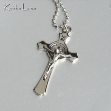 Keisha Lena Cross Christian Jesus Pendant Men Necklace Stainless Steel Jewerly Gold/Silver Classic Pendant Mens Necklace Jewelry
