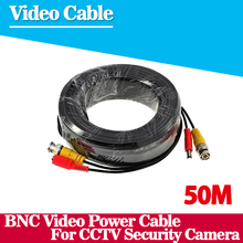 50m cctv cable Video Power Cable high quality BNC + DC Connector for CCTV Security Cameras Free Shipping(China)