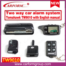 Free shipping Russian/English manual 2-way car alarm system TOMAHAWK TW9010 Engine starter Auto alarm system  Tomahawk TW-9010