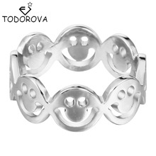 Todorova 10pcs Latest Ring Smile Face Connect Design Trendy Silver Gold Statement Jewelry Adjustable Rings for Women(China)