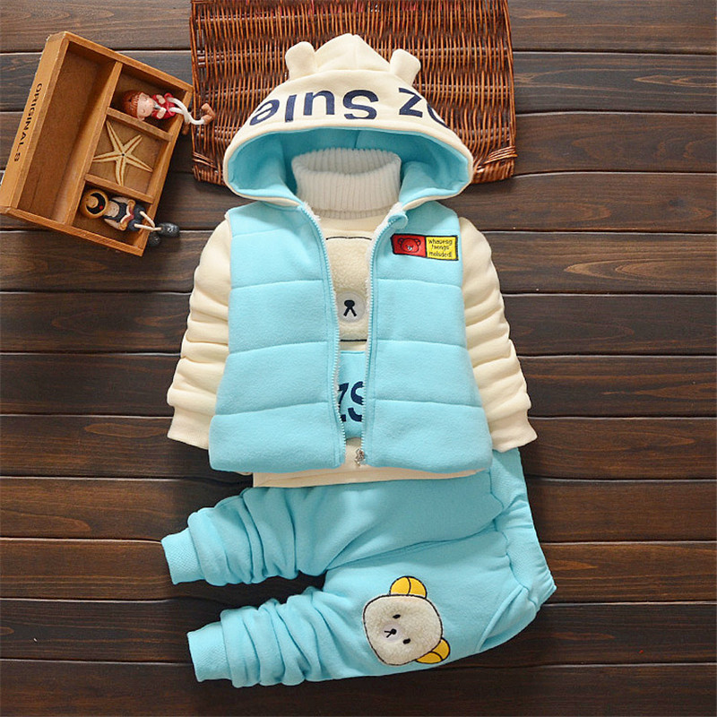 Boys clothing set winter fleeces kids clothes 3pcs boys clothing vest suit Christmas baby girls clothing sets sport suit<br><br>Aliexpress