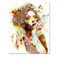 Colorful Girl Canvas Painting Decorative Pictures Pictures Of Abstract Paintings Wall Christmas Canvas Pictures For Home Decor