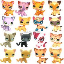LPS toys Cute Short Hair cat collections White Pink Tabby Black Super hero kitty animal pet shop Kitten