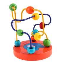 1 pc Wooden Cartoon Animal Chassis Circle Mini Beads Maze Educational Toy for Kids Hand Eye Coordination Toy Early Training
