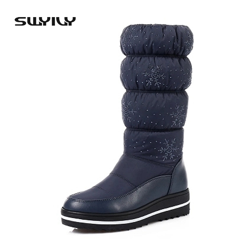 Fashion Crystal Women Thick Sole with Platform Mid-Calf Snow Boots Breathable Warm Plush Inside High Quality Female Winter Shoes