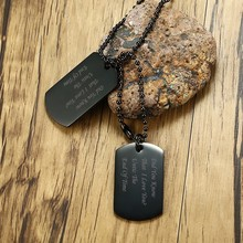 "Personalized Black Gold Tone Double Dog Tag Pendant Necklace for Men Women Stainless Steel Male Jewelry with 24"" Free Engraving(China)"