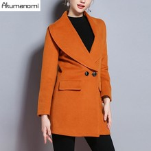 Winter Women Overcoat Orange Blends Sector Turn-down Collar Double Breasted Pocket Thicken Coats Women's Clothes Plus Size 5XL(China)