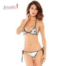 New Sexy Shiny Metallic PU Silver/Gold String Top Brazilian Bottom Bikini Swimwear Women Sexy Mini Micro Swimsuit Lingerie 4098(China)