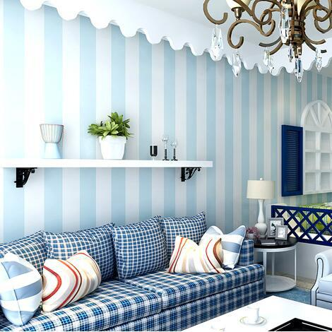 Modern Living Room Background Wallpaper Roll Pvc Vertical Striped Wallpaper Blue And White Striped Wall Papers Home Decor<br>
