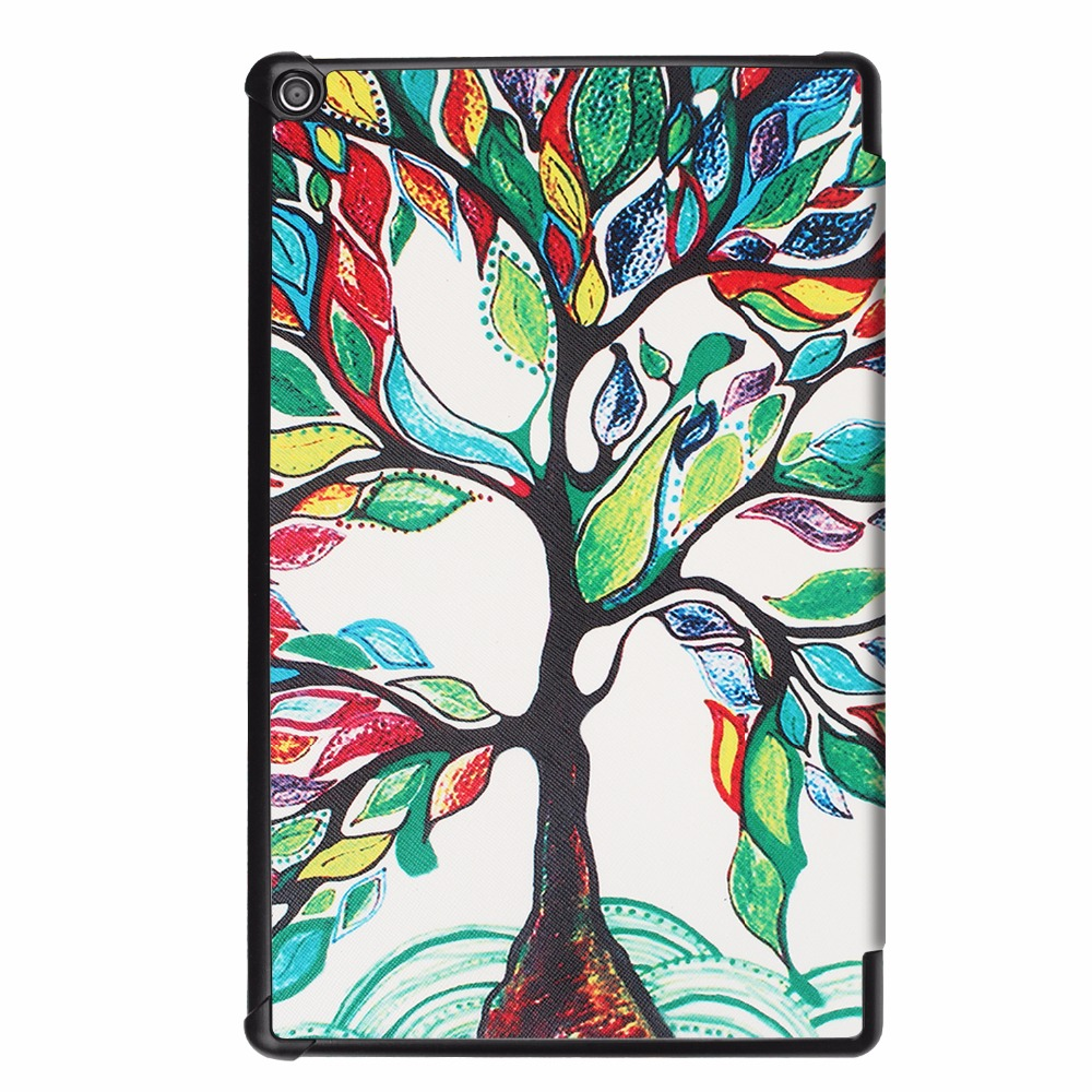 For Amazon Kindle Fire HD 10 2017 Tablet Case For Amazon HD 10 2017 Smart Print Flip Leather Cover Stand Capa Fundas+Stylus