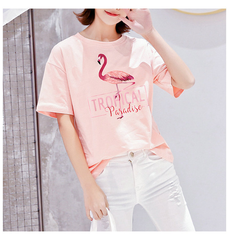 2018 Fashion Women T-shirt Summer Flamingos Tops Tees Ladies Tshirt Tropical Leer T-shirt Female Short Sleeve Poleras Mujer  (12)