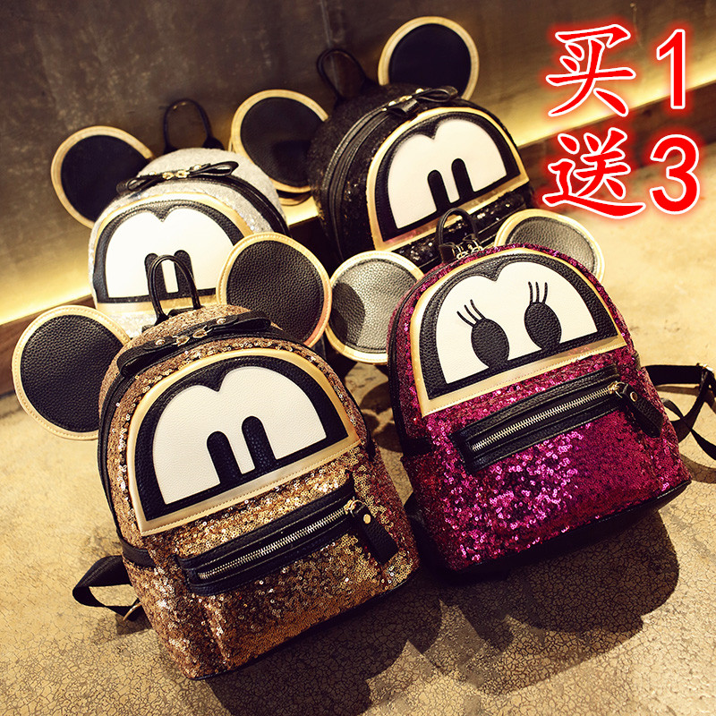 Super sequin  backpack 3D  cat bags Mickey Mouse backpack  bag big ears child cute cartoon Mini Backpack lovely Emoji bag <br><br>Aliexpress