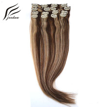 "New jeedou Synthetic Straight Hair 20"" 50cm 70g Clip In Hair Extensions 7Pcs/set Real Natural Hair Dark Blonde Color Hairpieces"