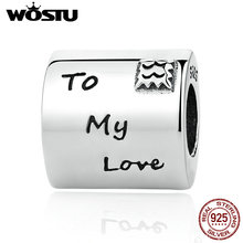 925 Sterling Silver From Me To My Love Charm Beads Fit Original wst Bracelet Authentic Luxury Jewelry Gift(China)