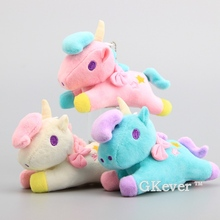 Anime 3 pcs/Lot Unicorn Horses Plush Keychain Cute Mini Soft Stuffed Animals 14 cm Children Gift