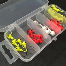 New Arrival 25 Pcs/Lot Fishing Jig Head Hook 2.5g 3.5g 5g 7g 10g Hooks with Plastic Box Fishing Tackles