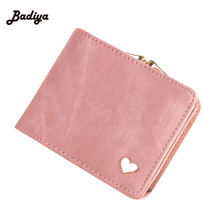 Fashion Colorful Lady Lovely Coin Purse Solid Golden Heart Clutch Wallet Large Capacity Zipper Women Small Bag Cute Card Hold(China)
