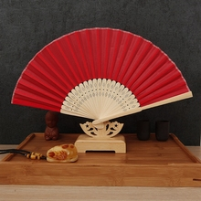 Free Shipping 1pcs Multi-color Plain Cloth Bamboo Hand Fan Summer Accesory Art Wedding Decoration Table Bride House Crafts(China)