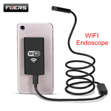 Fuers Wifi Endoscope Camera Waterproof Inspection Borescope iOS Endoscope 1M Semi Rigid Hard Tube Softwire Endoscope For Iphone(China)