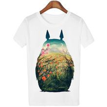 Peach Blossom Totoro Summer 2016 T Shirt Women Casual Fashion Cartoon White Top Tee 3D Print Plus Size Clothing