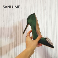 SANLUME 2017 Summer Satin Crytal women pumps sexy high heels shoes woman sandals office lady work shoes pointed toe 35 to 39(China)