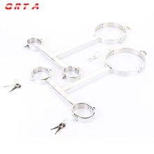Buy QRTA T Type Stainless Steel Neck Collar Hand Cuffs Metal Bondage Lock Slave Restraints Device Handcuffs Sex Adult Games